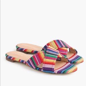 J CREW | Cora Multicolor Slides Sandals Rainbow 9